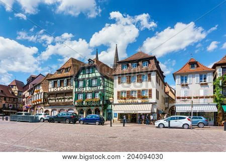 Obernai France - July 17 2017: Traditional colorful houses in Obernai city - Alsace France