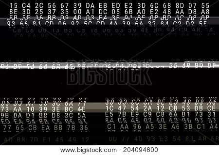 Distorted binary code. Loss of signal. Black-and-white illustration.