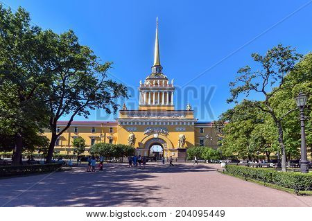 ST-PETERSBURG/RUSSIA - AUGUST 1, 2017.The building of the main Admiralty of St. Petersburg is one of the masterpieces of architecture, a monument of Russian classicism
