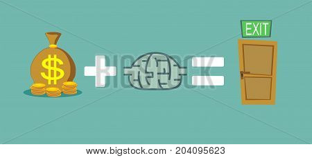 Money and brain helps to find a way out. Way to exit concept. Stock flat vector illustration.