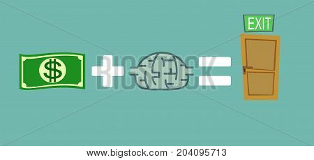 Way to exit concept. Money and brain helps to find a way out. Way to exit concept. Stock flat vector illustration.