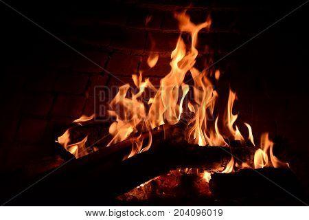 Fire burns inside a handicraft pizza wood-fired oven.