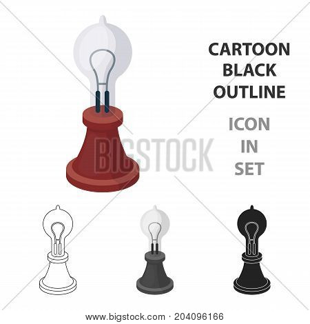 Edison's lamp icon in cartoon style isolated on white background. Light source symbol vector illustration