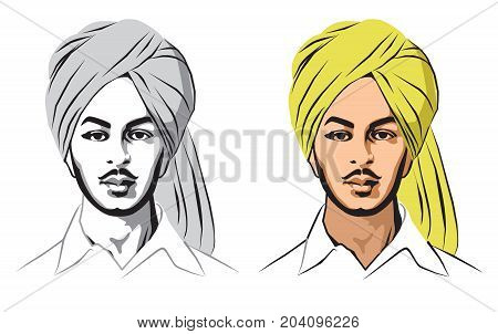 Stock illustration of indian sikh freedom fighter Bhagat Singh
