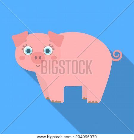 Piglet, single icon in flat style.Piglet vector symbol stock illustration .