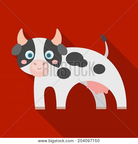 Cow, single icon in flat style.Cow, vector symbol stock illustration .