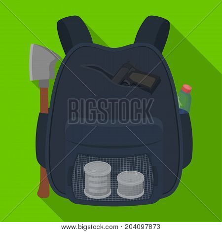 Backpack, single icon in flat style.Backpack, vector symbol stock illustration .