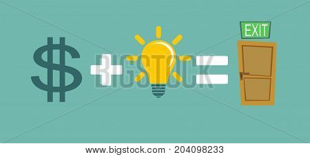 Way to exit concept. Money and ideas helps to find a way out. Way to exit concept. Stock flat vector illustration.