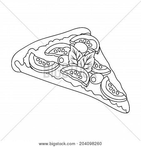 A slice of pizza with different ingredients. Different pizza single icon in outline style vector symbol stock illustration .