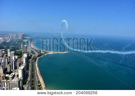 Chicago, Illinois - Usa - August 19, 2017: Chicago Skyline And Air Show