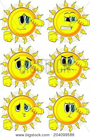 Cartoon sun holding a magnifying glass. Collection with sad faces. Expressions vector set.