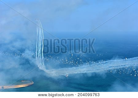 Chicago, Illinois - Usa - August 19, 2017: Chicago Air And Water Show On The Lake Front