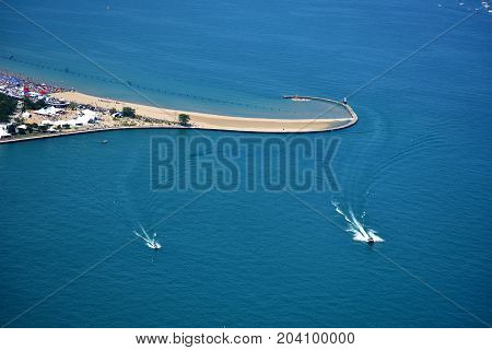 Chicago, Illinois - Usa - August 19, 2017: Chicago Water Show North Avenue Beach