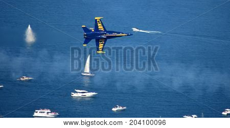 Chicago, Illinois - Usa - August 19, 2017: Chicago Air Show Navy Blue Angels