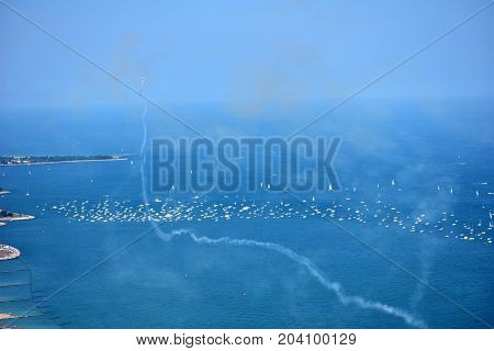Chicago, Illinois - Usa - August 19, 2017: Aircraft Performing Maneuvers Over North Avenue Beach