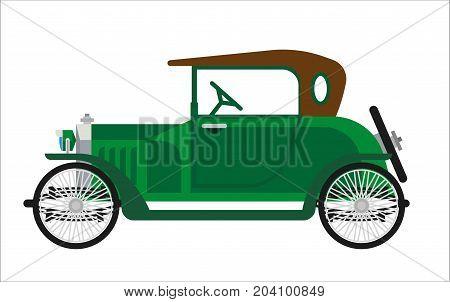 Old car or vintage retro automobile vehicle. Antique century veteran collector auto model with retractable cabriolet hardtop. Vector green oldcar isolated flat icon