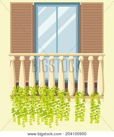 House window and wooden classic balcony in retro old style with shutters. Glass frame window loggia with green plant decoration of modern, old and ancient apartments. Vector isolated flat icon