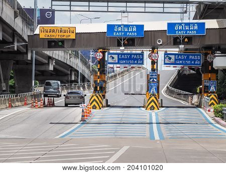 Bangkok,Thailand - August 15, 2017: Charging point on the toll road. Expressway fees charged points in Bangkok