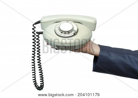 Contact us. Call us. Customer help service. Hot line consultant. Phone talk. Business man in suit holding in hand phone handset isolated on white close up.