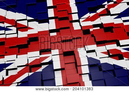 United Kingdom flag background formed from digital mosaic tiles, 3D rendering