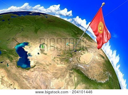 Kyrgyzstan national flag marking the country location on world map. 3D rendering, parts of this image furnished by NASA