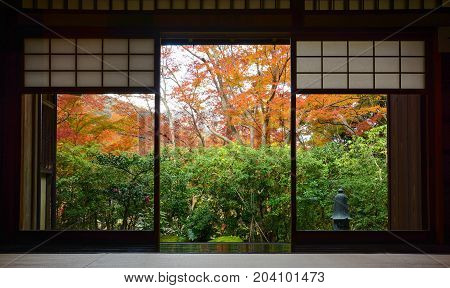 Wood frame doorway and tatami mats in traditional Japanese tea room in autumn