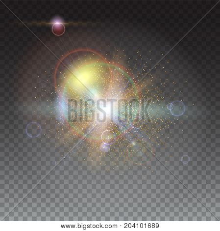 Blurred light rays and lens flare backdrop. Glow light effect. Star burst with sparkles. Abstract bright motion background. Dynamic digital, technology backdrop. Isolated on trasparent.