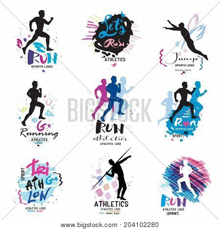 Sport logo, logotype sport. Running, marathon logo and illustrations. Fitness, athlete training symbols, numbers, signs.