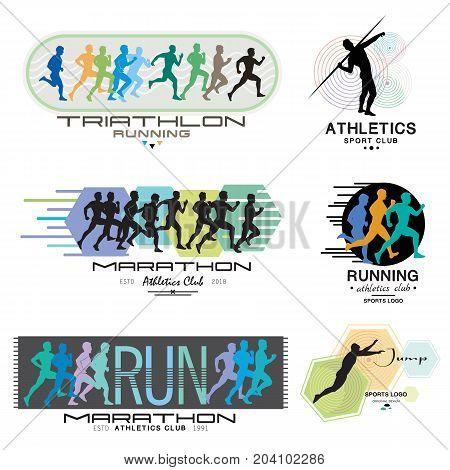 Illustration of a Marathon. Poster - triathlon, sprint, run. Run logo. Athletics  symbol, logotype.