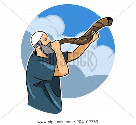 A religious Jewish blowing a shofar .