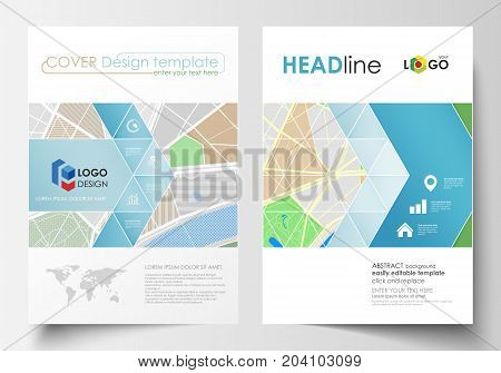 Business templates for brochure, magazine, flyer, booklet or annual report. Easy editable layout in A4 size. City map with streets. Flat design cover template, tourism businesses, abstract vector