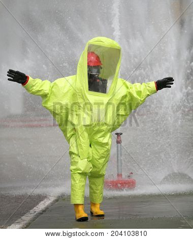 Person With Protective Suit Against Chemical And Bacteriological