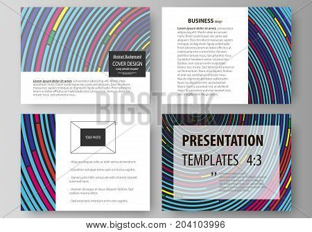 Set of business templates for presentation slides. Easy editable abstract vector layouts in flat design. Blue color background in minimalist style made from colorful circles