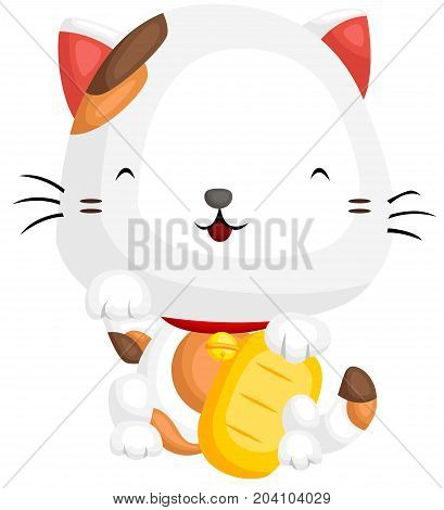 a lucky cat calling for fortune with his paw