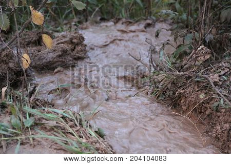 Clay Creek Draining Water From The Road After Heavy Rains