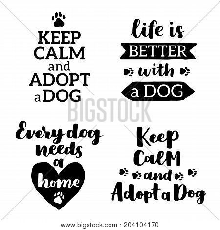 Vector Lettering Set With Saying About Dog Adoption. Don't Shop, Adopt. Modern Calligraphy Phrases O