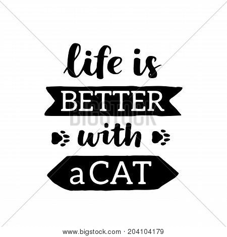 Vector Lettering Set With Saying About Cat Adoption. Don't Shop, Adopt. Modern Calligraphy Phrases O