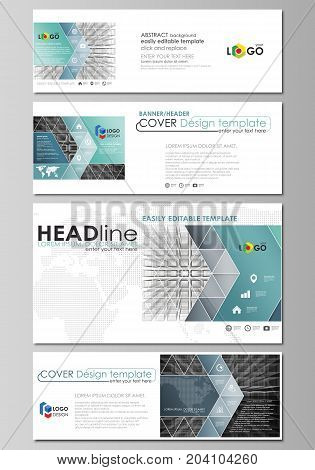 Social media and email headers set, modern banners. Business templates. Easy editable abstract design template, vector layouts in popular sizes. Abstract infinity background, 3d structure with rectangles forming illusion of depth and perspective.