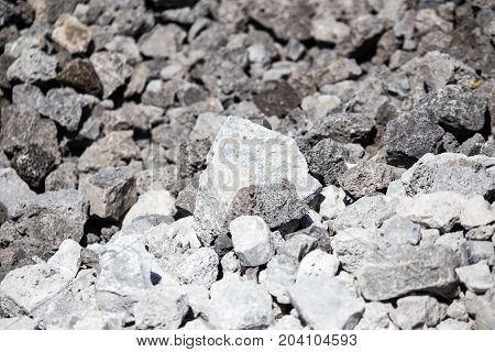 stone gravel on a construction site as a background .