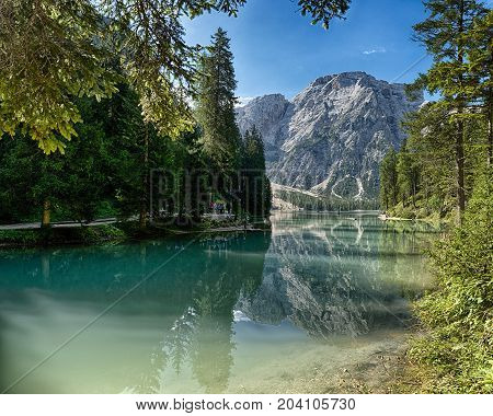 Landscape of Lake of Bries and Mount Croda del Becco in the background with blue sky at the horizon Dolomites - Trentino-Alto Adige Italy