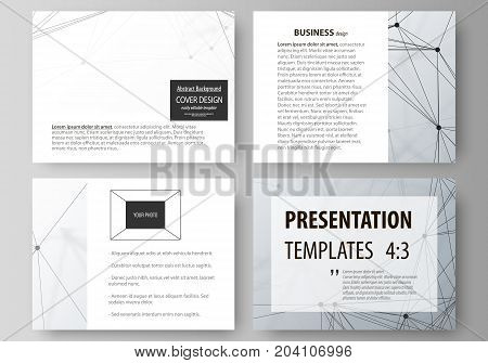 Set of business templates for presentation slides. Easy editable abstract vector layouts in flat design. Genetic and chemical compounds. Atom, DNA and neurons. Medicine, chemistry, science or technology concept. Geometric background.