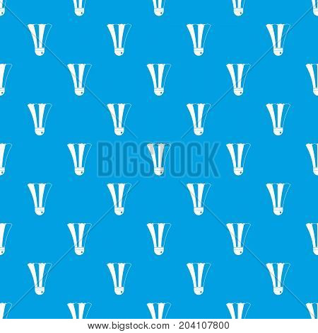 Black and white shuttlecock pattern repeat seamless in blue color for any design. Vector geometric illustration