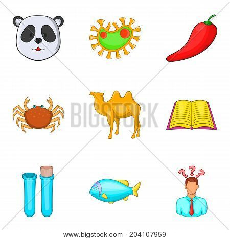 Variety of nature icons set. Cartoon set of 9 variety of nature vector icons for web isolated on white background
