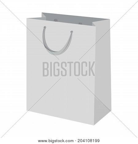 Shopping bag mockup. Realistic illustration of shopping bag vector mockup for web design isolated on white background