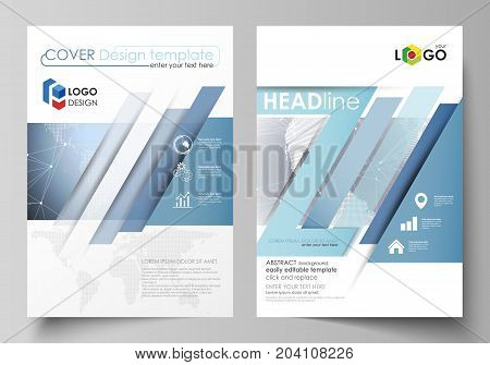 The vector illustration of the editable layout of two A4 format modern covers design templates for brochure, magazine, flyer, report. Abstract futuristic network shapes. High tech background