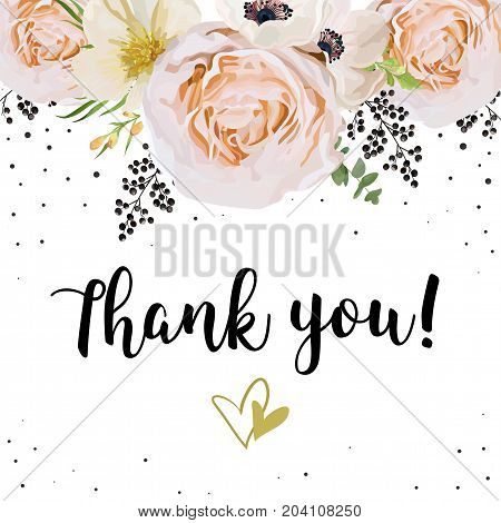 Wedding Invitation thank you card Design with pink peach Rose flower magnolia camellia white flowers privet black berrywax plant leaf bouquet lovely frame border crown. Vector floral garden concept