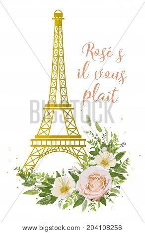 Eiffel Tower romantic paris gold symbol Flower Bouquet vector object. Peach pink rose camellia magnolia silver sage leaves privet blue berry mix. Lovely floral card elegant postcard t-shirt design