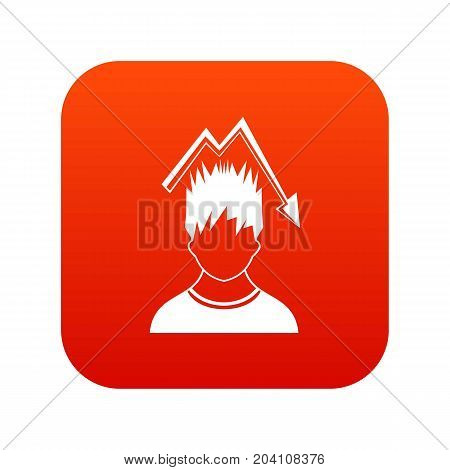 Man with falling red graph over head icon digital red for any design isolated on white vector illustration