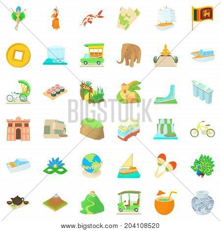 Globe journey icons set. Cartoon style of 36 globe journey vector icons for web isolated on white background