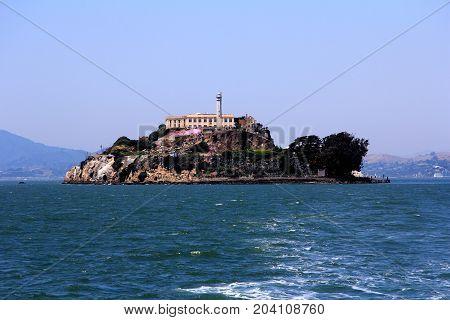 Panorama Of Alcatraz Island With Famous Prison Building, San Francisco, Usa